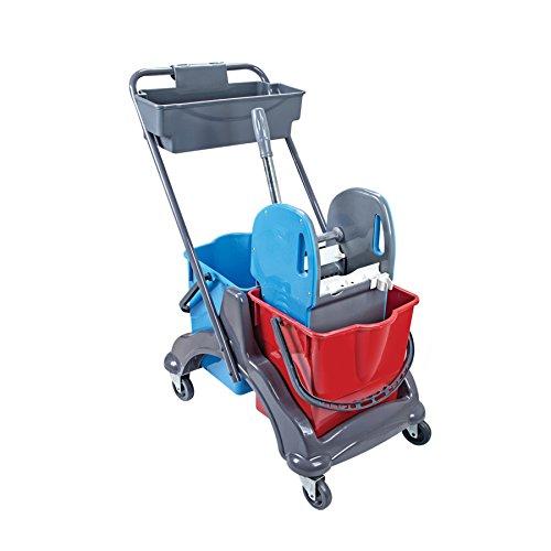 HELOME Doppelfahrwagen mit 2 Eimern in rot/blau (je 17 Liter), Reinigungswagen mit Presse für Wisch-Mopp und Ablagekorb, Putzwagen Set