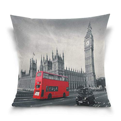 Überwurf Kissen Fall Dekorative Kissenhülle Kissenbezug, London City Big Ben Red Bus Sofa Bett Kissen Schutzhülle (40,6x 40,6cm) Twin Seiten -