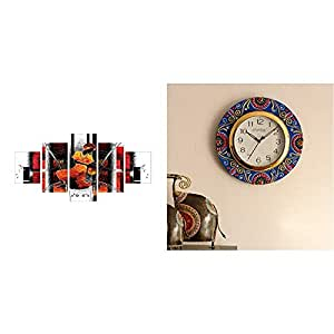 eCraftIndia 'Abstract Theme' Painting (Canvas Print, 127 cm X 60.96 cm, Set of 5) & Colourful Floral Wooden and Papier-Mache Wall Clock (30 cm X 2.5 cm X 30 cm) Combo