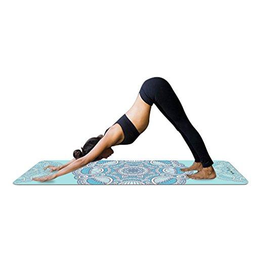 YISHU Mandala Yogamatte mit Tragetasche 1,5 mm dünn weich leicht faltbar Rutschfest aus Naturkautschuk Travel Fitness Gymnastik Outdoor Sport 180 x 68 cm Muster-G