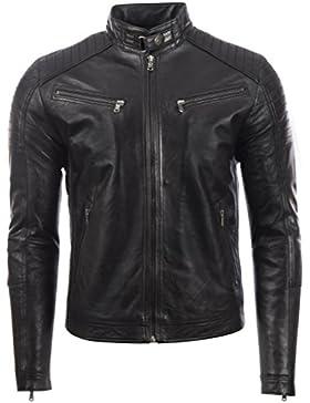 Chaqueta de moto para hombre 100% cuero suave genuino con diseño de lado y hombros con estilo por MDK