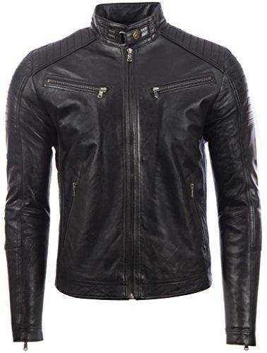 Aviatrix Herren Echtleder Biker Jacke mit Seitenstich und Schulter Detail (VO3W)- Gr. S / Brust=37 zoll, Schwarz (Leder Jacke Stehkragen)