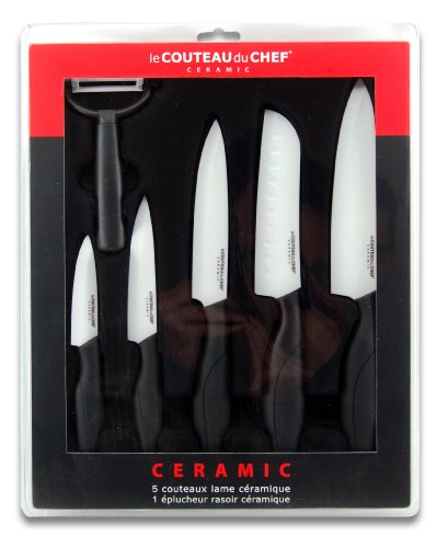 Le Couteau du Chef 447980 Coffret de 6 Couteaux Lame Céramique 30 x 37 x 3,4 cm
