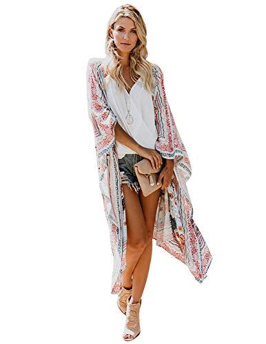 Zexxxy Damen Strand vertuschen Kleid, Lange leichte weiche lose Beachwear Plus Size Freizeitbadebekleidung Weiß, S - Kleid Am Strand