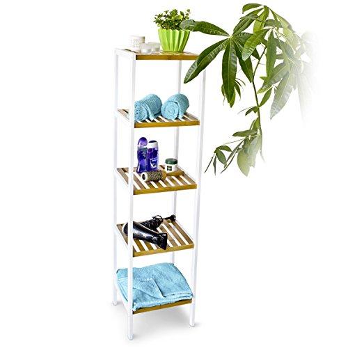 Relaxdays Bambus Regal mit 5 Fächern HBT 144 x 34,5 x 33 cm Schickes Badregal mit 5 Ablagen aus natürlichem Holz Standregal als Küchenregal oder Holzregal zur Aufbewahrung im Badezimmer, weiß natur