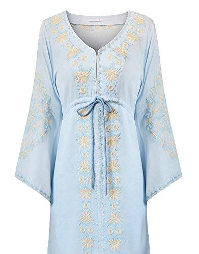 R.Vivimos Damen V-Ausschnitt Lange Ärmel Baumwolle Blumen bestickt Lange Kleider Blau