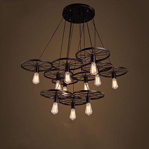 10 Licht Kronleuchter (GRY American Retro Industrial Style Kreative Eisen Rad Fish Line Kronleuchter, Licht für Bars, Cafés, Restaurants, Bekleidungsgeschäfte,* 10 *,Schwarz)