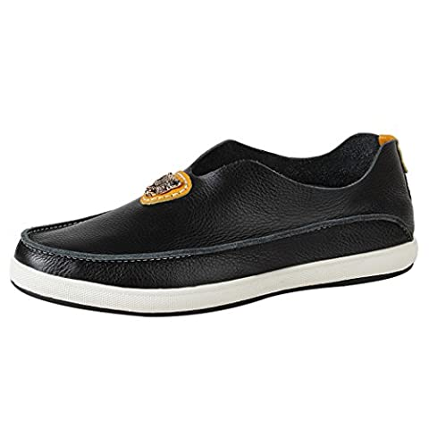 WALK-LEADER Mens Funny Leisure Slip On Loafers Leather Stylish Sneakers Black 7.5 UK