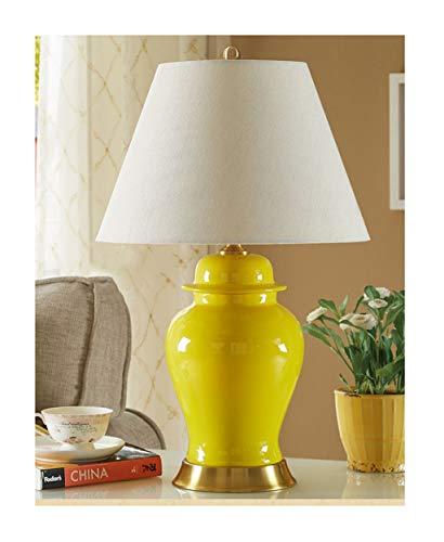 Lampe de table F Lampe de table en céramique Cuivre E27 Douille de lampe Fil de cuivre Base de dessin Américain Rétro Salon Chambre Lampe de chevet (Couleur : Le jaune)