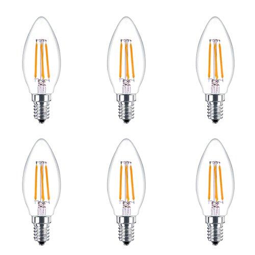 Indoor-ersatz (6 Pack LED Kandelaber Birne Filament UL gelistet 4W 400 Lumen E14 Base 2700K Indoor 002)