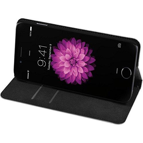 PhoneNatic Kunst-Lederhülle für Apple iPhone 6s / 6 Book-Case schwarz Tasche iPhone 6s / 6 Hülle + 2 Schutzfolien Weiß