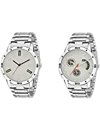 Om Branded Analogue Day And Date Working Stainless Steel Metal Quartz Watch For Men And Boys Set Of 2