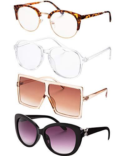 Tatuo 4 Paar Modedesigner Sonnenbrillen und Stilvolle Brillen mit Durchsichtigen Gläsern für Damen Brillen mit Übergroßer Quadratischer Schwarzer Schildkröten Rahmen Brillen