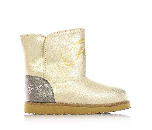 GUESS - FI4SAB: Goldene Stiefeletten aus Leder, frontal und seitlich ein Logo, Mädchen-33 (Schuhe Guess Kinder)