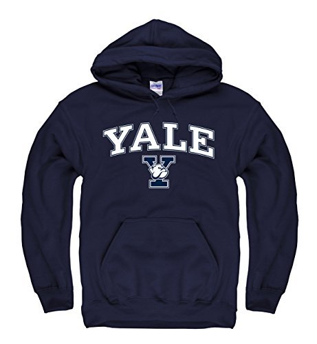 Campus Colors Campus Farben Yale Bulldogs Erwachsene Arch & Logo Gameday Sweatshirt mit Kapuze - Marineblau, Herren, Blau, Medium Bulldogs Fleece-sweatshirt