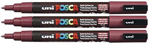 Uni Posca pc-3m rot Wein Farbe Paint Marker Pen 1,5mm feiner Bullet Feder schreibt auf jede Oberfläche Kunststoff Glas Holz Stoff Metall (3Stück) - Rot Kunststoff-wein-gläser Farbe