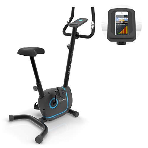 Klarfit Myon Cycle - Bicicleta estática , Volante de inercia de 12kg , Tracción por correa con tecnología Silent Belt , 8 niveles , Pulsómetro , Altura regulable , Soporte para tablet , Negro