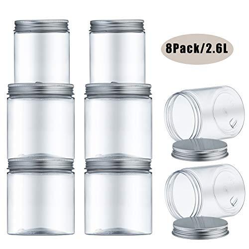 Meixi contenitori alimentari, barattoli cucina, contenitori plastica trasparente con coperchio in metallo per la conservazione ideale per zucchero, biscotti, caffè, pasta senza bpa (2.6l)