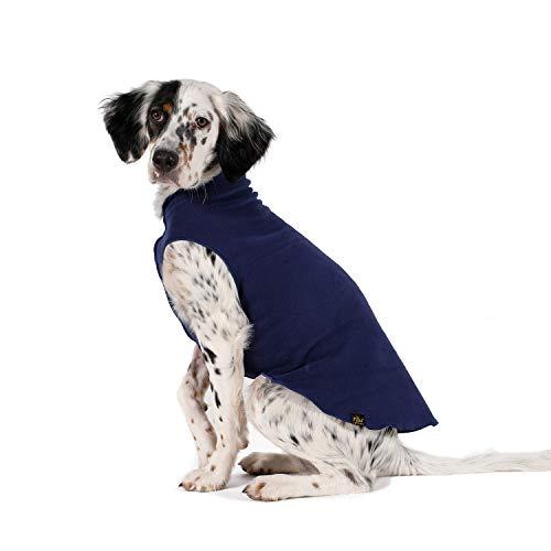 Gold Paw Hundemantel aus Fleece, mit Pfotenabdruckmotiv, weich, warm, dehnbar, maschinenwaschbar, umweltfreundlich, für alle Jahreszeiten, Größen 4-33, Marineblau, Größe 6 - Vier Jahreszeiten Textilien