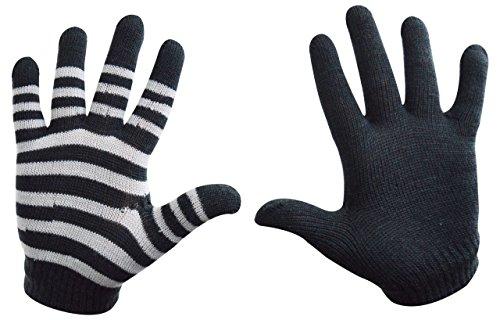 Magic Gloves - Damen-Handschuhe mit Stretch - 2er Pack - 1 einfarbig & 1 gestreift - dunkelgrau - Einheitsgröße (Magic Damen Gloves)