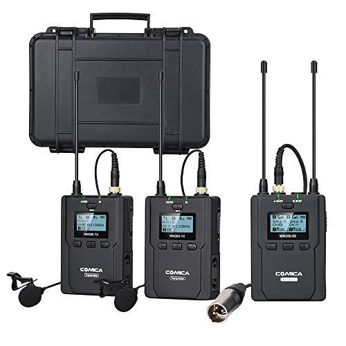 Comica CVM-WM200 (A) Full Metal Professionale UHF a 96 canali full metal con doppio microfono Lavalier Lapel per fotocamera Canon Nikon Sony, iPhone/smartphone e videocamere XLR (gamma da 394 piedi)