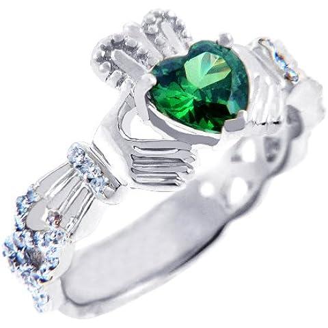Piccoli Tesori - Anello Donna 18 ct Oro Bianco 750/1000 0.4 Ct Diamante Claddagh con con 1.10 Ct Smeraldo