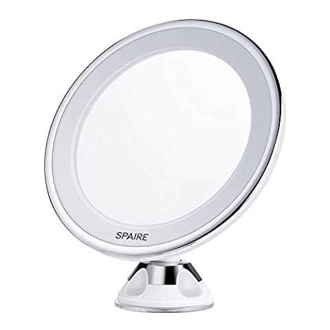 Spaire Bathroom Mirror 7X Magnifying LED Lighted Makeup Mirror with Strong Suction Cup,360 Degree Swivel Rotation, Battery Operated for Home, Hotel and Travel