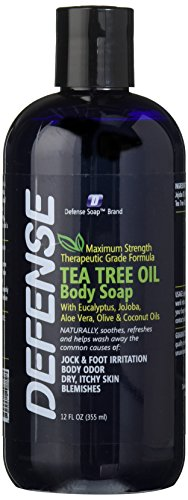 Defense Soap Antifungal Body Wash Shower Gel 12 Oz - Natural Antibacterial Tea Tree Eucalyptus Oil