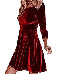 FuweiEncore Abito da Donna con Mini Abiti a Pieghe Casual con Maniche  Lunghe in Velluto Invernale (Colore   Rosso f8e786c5ddb