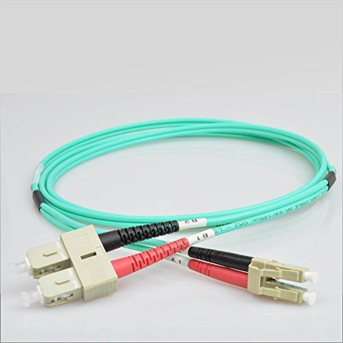 AIXONTEC LWL Patchkabel 20m LC-SC 10G Gigabit Glasfaser Fiber Patchkabel mit Multi OM3 Duplex 50/125- LSOH Kabel (Aqua) -