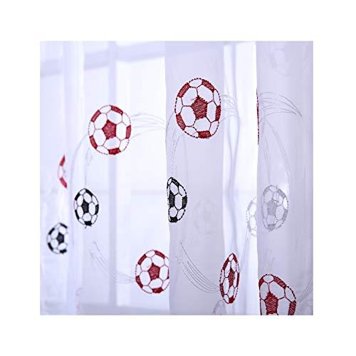 1x bestickt schwarz blau rot Kinder Jungen Kinder Fußball Voile Netz Vorhang Panel-139,7cm W x 101,6cm L-Vorhänge zu Hause - Vorhang-panels Jungen