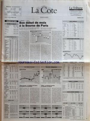 COTE (LA) du 27/09/1993 - BOURSE DE PARIS - VOLUMES EN MONTANT - LES 40 VALEURS DU CAC - LES PRINCIPAUX ECARTS - INDICES AGEFI - LA SEANCE +1,70 % - BON DEBUT DE MOIS A LA BOURSE DE PARIS - LA VALEUR DU JOUR - UFINER-COFRETH 19 MILLIONS DE FRANCS DE RESULTAT NET SEMESTRIEL - MATIF LE NOTIONNEL TERMINE LA SEMAINE EN HAUSSE - INDICES MONDIAUX - LES 30 VALEURS DU DOW JONES - CHANGES A LÔÇÖETRANGER - INDICES MATIERES PREMIERES