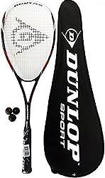 Dunlop Nanomax Tour raqueta de squash + FUNDA + bolas de 3 Calabaza - Estructura: Nanotitanio - Juego viene completo con un paquete de tres pelotas de squash - Equilibrio: Cabezal ligero - tamaño de cabeza - 525 cm2 - Patrón de las cuerdas: 16 x 19