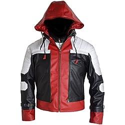 Cazadora de cuero de Red Hood + chaleco XXS-5XL White Red, Blanco Rojo,