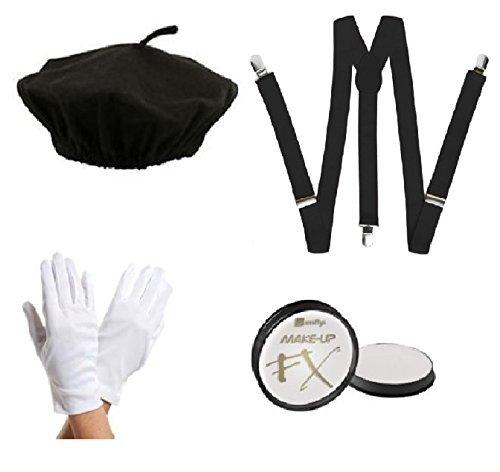 Mime Artist Kit - Beret Hat, Braces, White Gloves, & Face Paint Fancy Dress by Blue Planet Online White French Hut