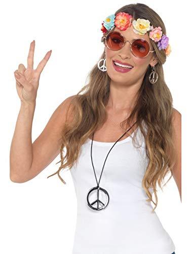 (Halloweenia - Kostüm Accessoires Zubehör Damen Hippie Woodstock Kit mit Flower Power Haarband, Sonnebrille, Ohrringe und Medaillion, perfekt für Karneval, Fasching und Fastnacht, Mehrfarbig)