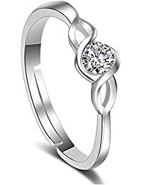 Via Mazzini Elegant Classic Swiss Crystal Adjustable Proposal Ring For Women And Girls (Ring0525)