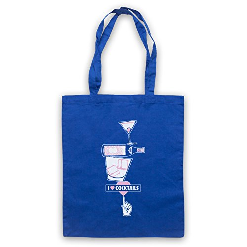 I Love Cocktails Slogan Style Umhangetaschen Blau
