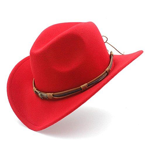 SSLA Mode Frauen Western Cowboy Hut Mit Punk Blet Lady Filz Cowgirl Sombrero Caps (Farbe : Rot, Größe : 56-58CM)