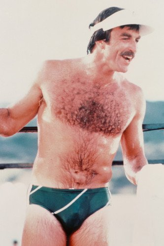 Tom Selleck in Magnum, P.I. 24x36inch (60x91cm) Poster barechested in tight swim shorts