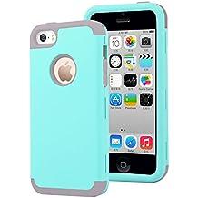iPhone 5C Funda,Dailylux Carcasa iPhone 5c Funda iPhone 5c híbrido de alto impacto de silicona suave y cubierta de la caja dura de la PC para iPhone 5C -verde + gris