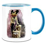 Payton Clothing Zeus Micky Maus Ups - Zeus Mickey Mouse Ups Colored Handle Coffee Mug - 11 oz Ceramic Cup
