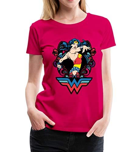 Spreadshirt DC Comics Wonder Woman Pose Frauen Premium T-Shirt, S (36), Dunkles Pink -
