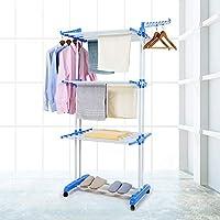 Talk-Point Mobiler Turm- Wäscheständer, Wäschetrockner, Wäscheturm | 18 Meter Wäscheleine, klappbar, mobil | mit Seitenflügel | für Innen & Außen (3 Ebenen)