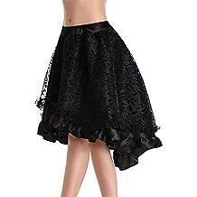 eb93392e9717d1 Vectry Damen Volantrock Retro Steampunk Gothic Lolita Rock Rüschen Blumen  Spitze Rock Vintage Neuheit Hohe Taille