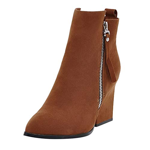 ZODOF Botas Mujer tacón Grueso Boots otoño Invierno Botines Tacón Ancho Botas Cremallera Antideslizante Zapatos De Botas Comodos Fiesta Moda(37 EU,marrón)