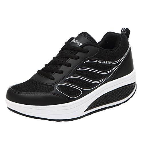 CUTUDE Damen Laufschuhe Fitness straßenlaufschuhe Sneaker Sportschuhe atmungsaktiv rutschfeste Mode Freizeitschuhe (Schwarz, 35 EU)