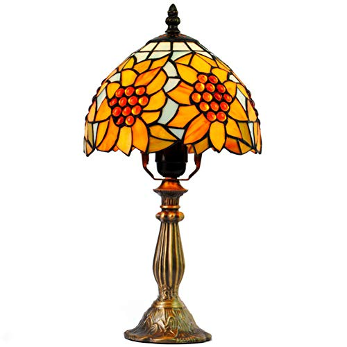 E27 Tiffany Stil Sonnenblume Tischlampe, Max 40w Glasmalerei Tabelle Licht Bett H:35cm(13.8 In)* D:20cm(8 In)-a -