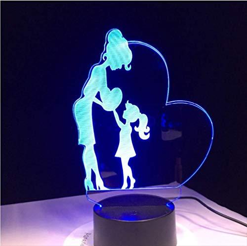 chter Liebesgeschenk 3D Lampe LED Nachtlicht mit 7 Farben Mutter Geschenk ändern Zurück zu Schule Budget Deal Geschenk ()