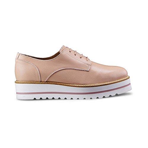 Another A Damen Plateau Schnürschuh – Schnürer – Plateau Sneaker – Glattleder – Rutschfeste Platteausohle – Sneaker - Rosa Leder 38